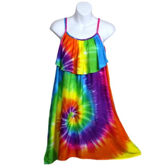 91750c64401 Rainbow Spiral Tie Dye Front Ruffle Sundress